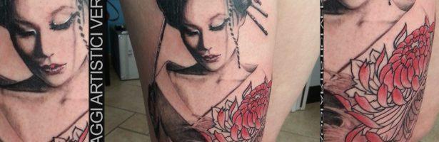 Tatuaggio orientale, la Geisha realistica