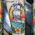 Il veliero, tatuaggio tradizionale a colori realizzato da Victor Bertelletti