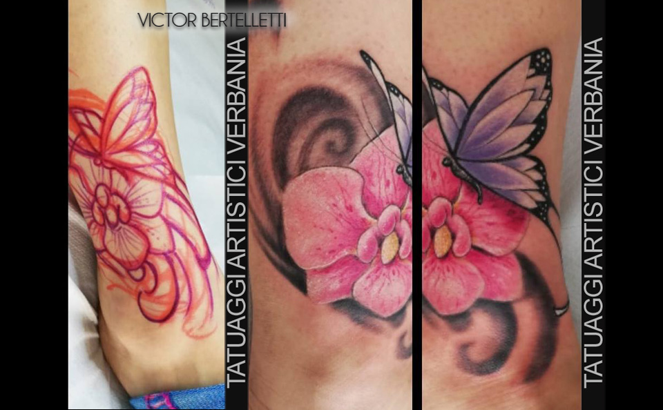 Tatuaggio free hand a colori (mano libera) realizzato da Victor Bertelletti
