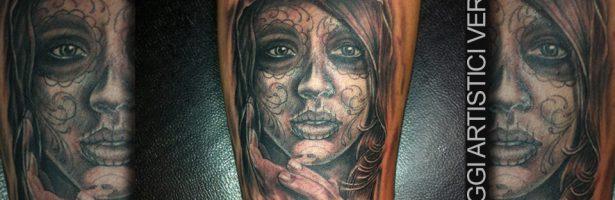 Calavera la Santa Muerte, tatuaggio realistico