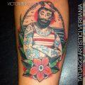 Marinaio old school, tatuaggio traditional a colori realizzato da Victor Bertelletti