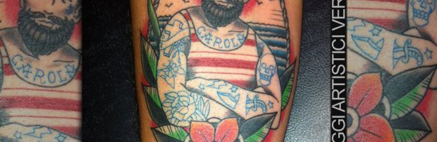 Marinaio old school, tatuaggio traditional a colori