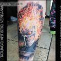 Ghost Rider, tatuaggio realistico color realizzato da Victor Bertelletti titolare e tauatore resident presso Tatuaggi Artistici Verbania