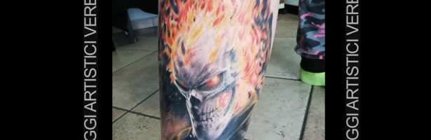 Ghost Rider, tatuaggio realistico color